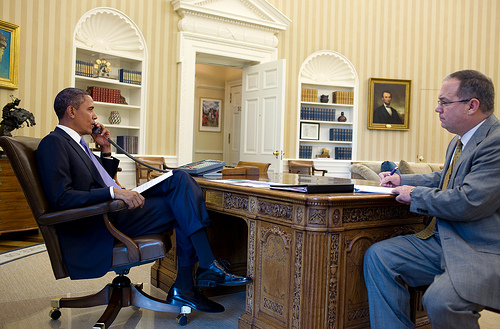 President Obama in His Newly Redecorated Oval Office