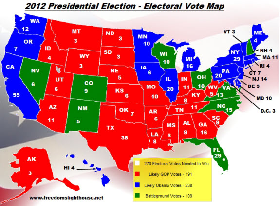 Freedom39s Lighthouse  2012 Electoral Vote Map
