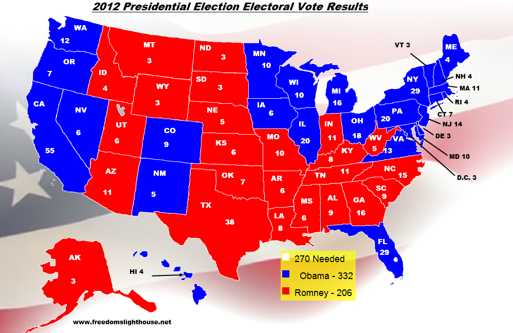 Presidential Election Electoral College Map For Barack Obama - 2012 us presidential election map