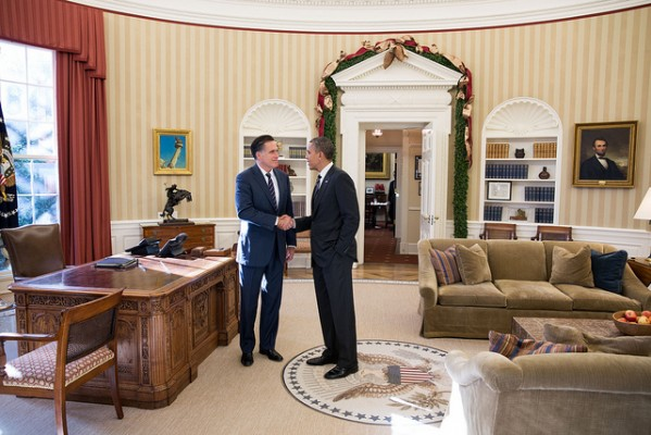 Gov. Mitt Romney meets with President  Barack Obama in the Oval Office - 11/29/12