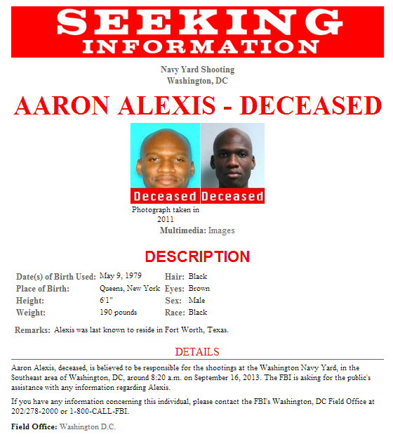 Navy Yard Shooting Fbi Video Shows Gunman Aaron Alexis: Freedom's Lighthouse » FBI Releases Poster Seeking
