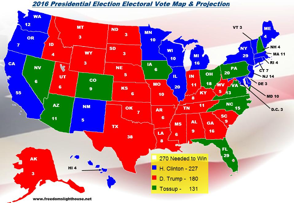 Freedoms Lighthouse 2016 Electoral Vote Map and Projection